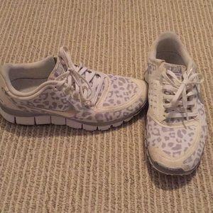 White cheetah print NikeFree